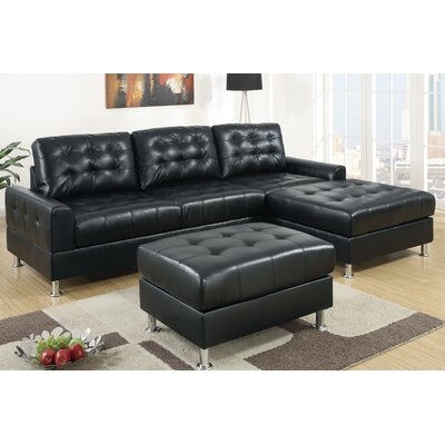 Reversible Modular Sectional Upholstery: Black