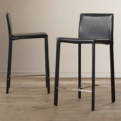 Gibbs 24 inch Bar Stool (Set of 2) Finish: Black