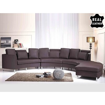 Roberson 4 Piece Leather Circular Living Room Set Upholstery: Brown