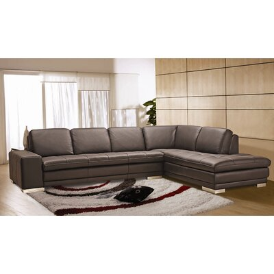 Bender Leather Sectional Orientation: Right Hand Facing