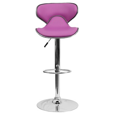 Marlon Adjustable Height Swivel Bar Stool Upholstery: Purple