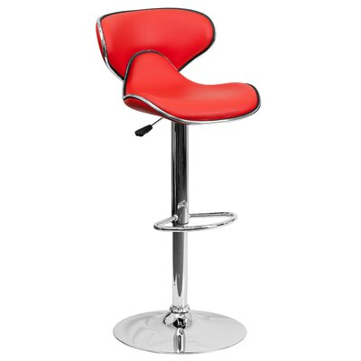 Marlon Adjustable Height Swivel Bar Stool Upholstery: Red