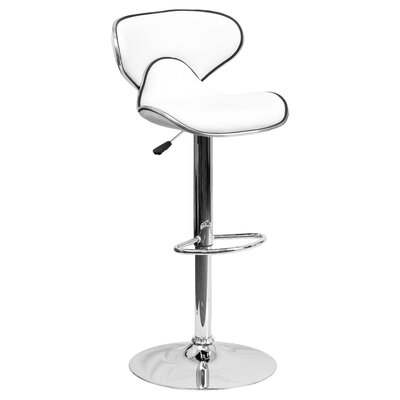 Marlon Adjustable Height Swivel Bar Stool Upholstery: White