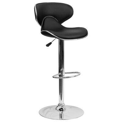 Marlon Adjustable Height Swivel Bar Stool Upholstery: Black