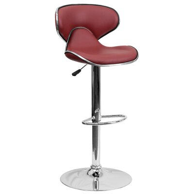Marlon Adjustable Height Swivel Bar Stool Upholstery: Burgundy