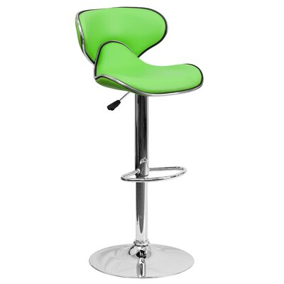 Marlon Adjustable Height Swivel Bar Stool Upholstery: Green