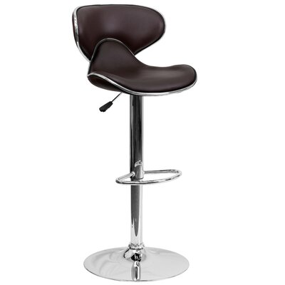 Marlon Adjustable Height Swivel Bar Stool Upholstery: Brown