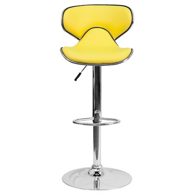 Marlon Adjustable Height Swivel Bar Stool Upholstery: Yellow