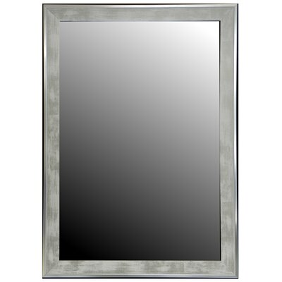 Scratched Wash White and Silver Trim Framed Wall Mirror Size: 29