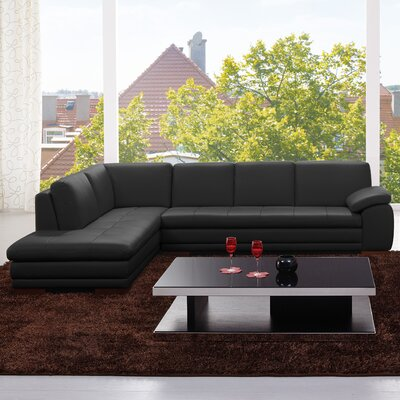 Jerald Leather Sectional Upholstery: Black, Orientation: Right Hand Facing