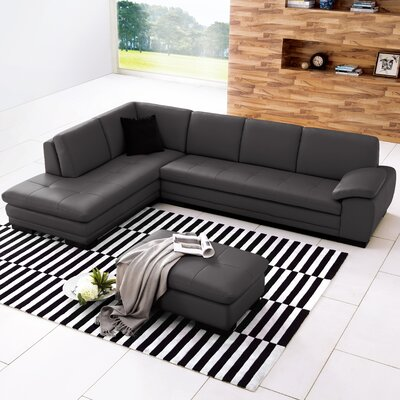 Jerald Leather Sectional Upholstery: Gray, Orientation: Left Hand Facing
