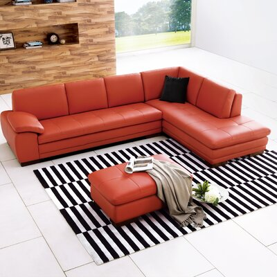 Jerald Leather Sectional Upholstery: Brick, Orientation: Right Hand Facing