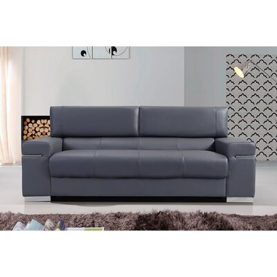 Orlando Leather Sofa Upholstery: Black
