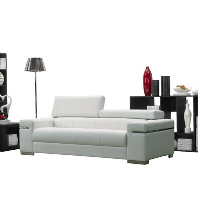 Orlando Leather Sofa Upholstery: White