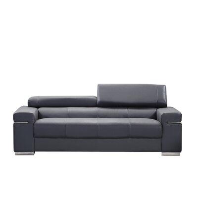 Orlando Leather Loveseat Upholstery: Black