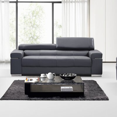 Orlando Leather Loveseat Upholstery: Grey