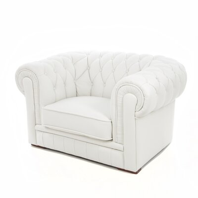 Botkin Leather Armchair Upholstery: White