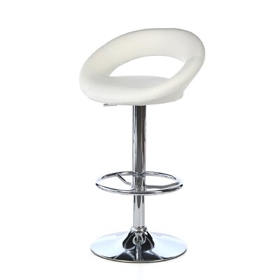 Quinton Adjustable Height Swivel Bar Stool Upholstery: White