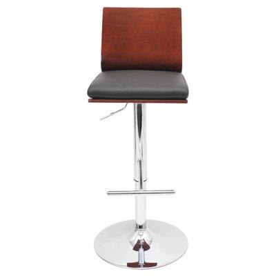 Adjustable Height Swivel Bar Stool Upholstery: Cherry / Black