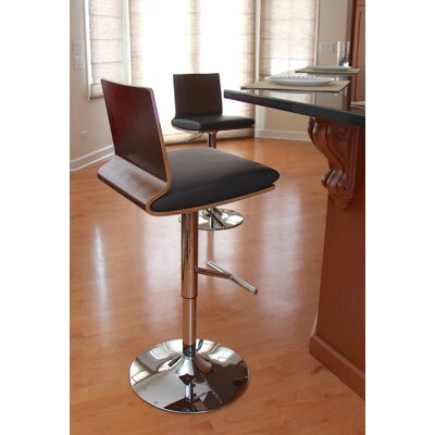 Adjustable Height Swivel Bar Stool Upholstery: Walnut / Brown