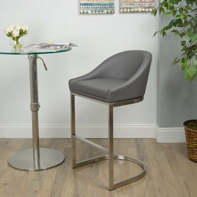 26 Faux Leather Bar Stool Upholstery: Gray