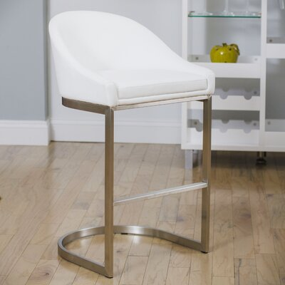 Wade Logan Sylvester 26 Bar Stool With Cushion Upholstery White