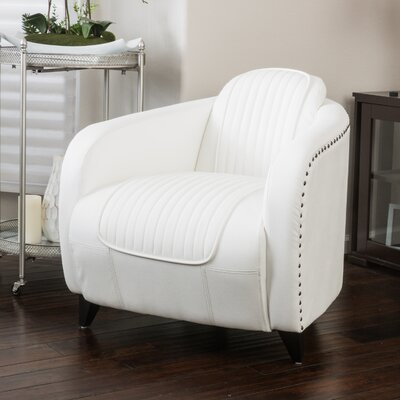 Burgan Barrel Chair Upholstery: White