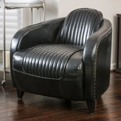 Burgan Barrel Chair Upholstery: Black