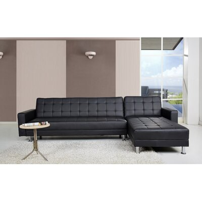 Spirit Lake Sleeper Sectional Upholstery: Black