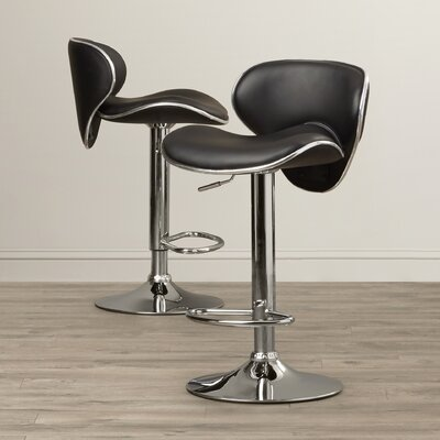Brandon Adjustable Height Swivel Bar Stool (Set of 2) Upholstery: Black