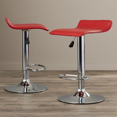 Gould Adjustable Height Bar Stool Set Upholstery: Red