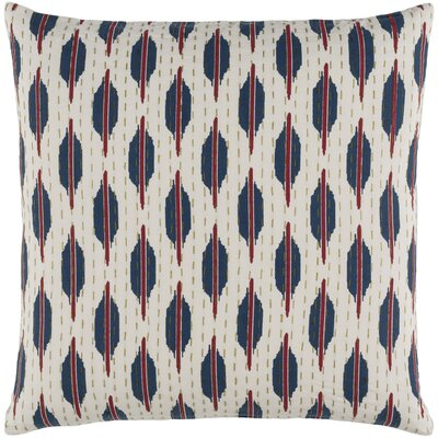 Marquez Kantha 100% Cotton Throw Pillow Size: 18 H x 18 W x 4 D, Color: Burgundy/Navy/Olive/Ivory