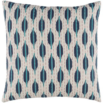 Marquez Kantha 100% Cotton Throw Pillow Color: Teal/Navy/Cherry/Ivory, Size: 20