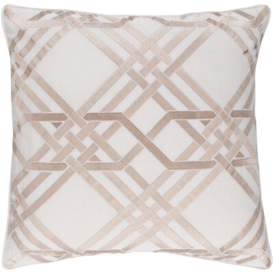 Barker Throw Pillow Size: 22 H x 22 W x 4 D, Color: Ivory/Gold