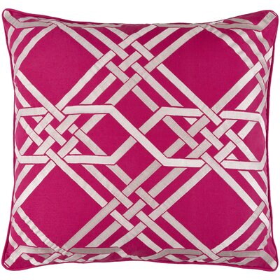 Barker Down Throw Pillow Size: 18 H x 18 W x 4 D, Color: Hot Pink/Ivory