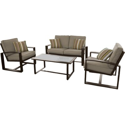 Brower 4 Piece Lounge Seating Group with Cushion