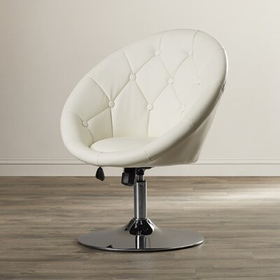 Graves Adjustable Height Swivel Bar Stool Upholstery: Cream