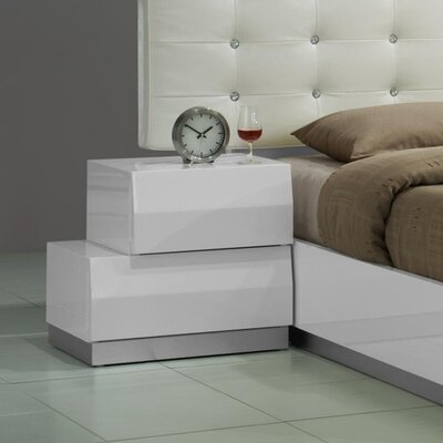 Matt 2 Drawer Nightstand Color: White, Orientation: Left-Facing