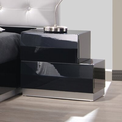 Matt 2 Drawer Nightstand Color: Black, Orientation: Right-Facing