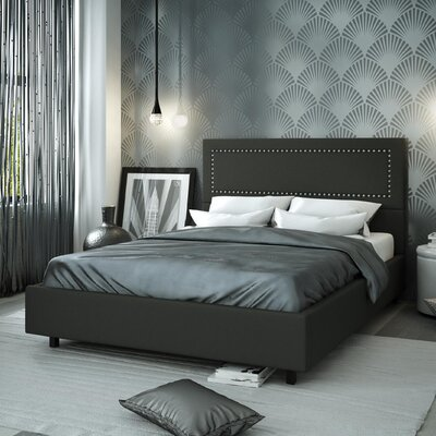 Pierre Upholstered Platform Bed Size: Queen, Color: Matte Charcoal Black