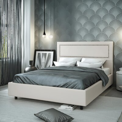 Pierre Upholstered Platform Bed Size: Full, Color: Beige