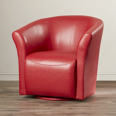 Elisha Swivel Barrel Chair Upholstery: Red