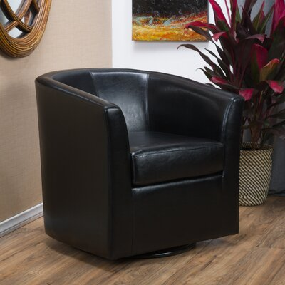 Wilmore Faux Leather Swivel Barrel Chair Upholstery: Black