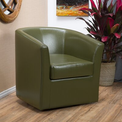 Wilmore Faux Leather Swivel Barrel Chair Upholstery: Green Tea
