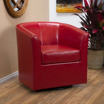 Wilmore Faux Leather Swivel Barrel Chair Upholstery: Red