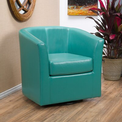 Wilmore Faux Leather Swivel Barrel Chair Upholstery: Turquoise