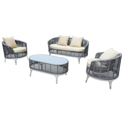Blevins 4 Piece Lounge Seating Group with Cushion