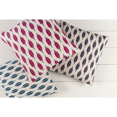 Marquez Kantha 100% Cotton Throw Pillow Size: 22 H x 22 W x 4 D, Color: Magenta/Cherry/Magenta/Ivory