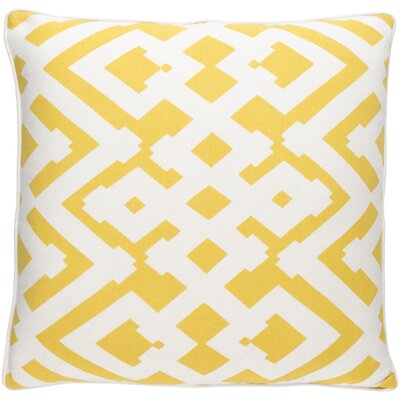 Belford Large Zig Zag Linen Throw Pillow Size: 22 H x 22 W x 4 D, Color: Sunflower/Ivory