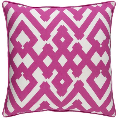 Belford Large Zig Zag Linen Throw Pillow Size: 18 H x 18 W x 4 D, Color: Hot Pink/Ivory